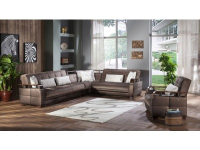 Natural Sectional Sofa Bed in Prestige Brown Fabric
