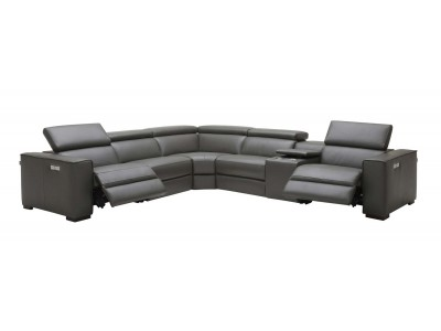 Picasso Sectional Sofa in Dark Grey Leather with Recliners