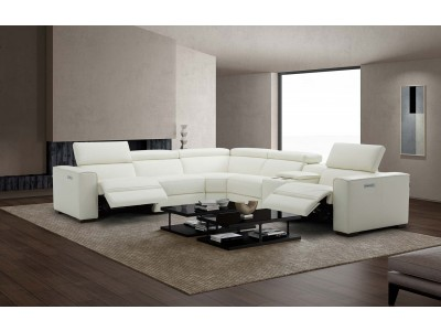Picasso Sectional Sofa in White Leather with Recliners