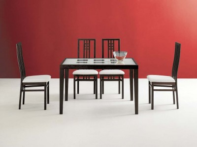Poker Italian Dining Room Set in Wenge Finish