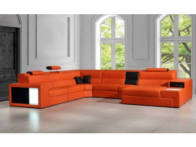Divani Casa Polaris Large Sectional Sofa in Orange Leather
