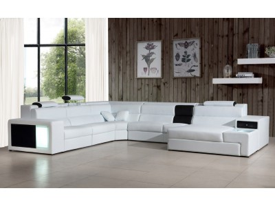 Divani Casa Polaris Large Sectional Sofa in White Leather