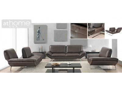 Roxi Living Room Set with Sliding Backs in Brown Leather