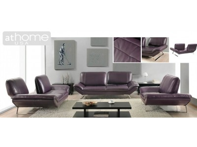 Roxi Living Room Set with Sliding Backs in Purple Leather