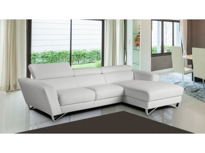 Sparta Mini Sectional Sofa in White Italian Leather