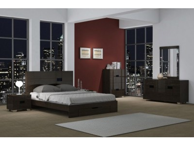 Gina Bedroom Set in Walnut Lacquer with Storage Bed
