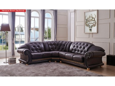 Apolo Classic Sectional Sofa in Brown Italian Leather