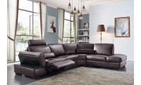 445 Sectional Sofa with Power Recliner in Brown Leather