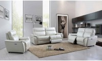 ESF 1705 Reclining Living Room Set in Light Grey Leather
