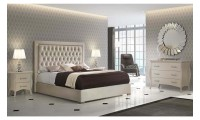 Adagio Bedroom Set in Ivory with Microfiber Storage Bed