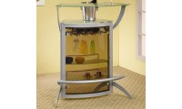 100135 Glass Silver Home Bar Unit by Coaster Furniture