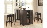 100319 Home Bar Cabinet Counter Height Table