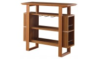 100338 Open Home Bar in Oak Finish with Wine Glass Rack