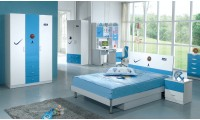 Modern Kids Basketball Bedroom Set with Twin or Full Platform Bed 100B