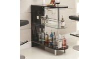 101063 Contemporary Black Home Bar with Glass Shelves
