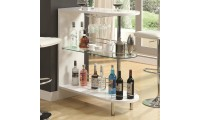 101064 Contemporary White Home Bar with Glass Shelves