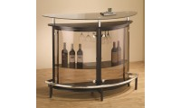 101065 Contemporary Home Bar in Black with Smoked Front