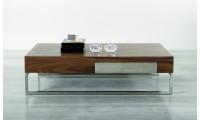107A Contemporary Walnut Coffee Table with Square Legs