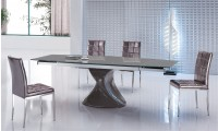 Expandable Glass Top Pedestal Modern Dining Room Set 11323-192