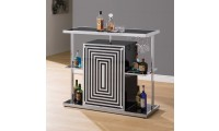 130076 Contemporary Home Bar with Wine Glasses Hooks