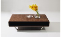 136A Contemporary Walnut Coffee Table with Chrome Legs