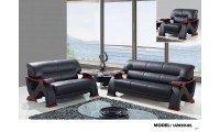 U2033 Living Room Set in Black Leather by Global Furniture