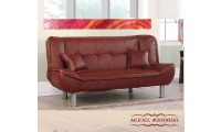 3006BR Sofa Bed Sleeper in Brown Leatherette