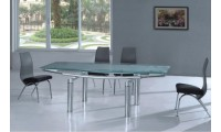 Tempered Glass Table Leather Chairs Dining Room Set