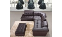 J&M 397 Modern Sectional Sofa in Beige or Brown Leather