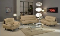 405 Modern Living Room Set in Beige Leather by UFG