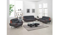 405 Modern Living Room Set in Black Leather by UFG