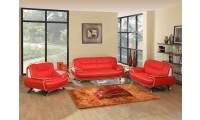405 Modern Living Room Set in Red Leather