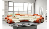Divani Casa 4087 Reclining Sectional Sofa Orange and Cream