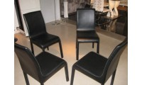Contemporary Black Leather Dining Side Chairs - Set of 2
