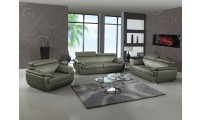 4571 Modern Living Room Set in Grey Leather by United