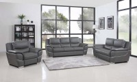 4572 Modern Living Room Set in Grey Leather by United