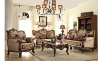 610 Catania Living Room Set in Dark Cherry Finish Trim
