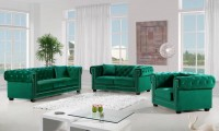 Bowery 614 Living Room Set in Tufted Green Fabric