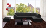 625 Modern Sectional Sofa in Black Italian Leather