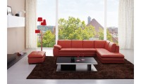 625 Pumpkin Leather Sectional Sofa by J&M Furniture