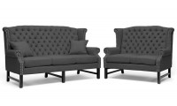 63102 Anna Sofa Loveseat Set in Grey Fabric