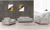 Divanitalia 636 Living Room Set in Light Gray Leather