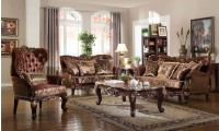 French Provincial Living Room Set 685 in Brown Fabric