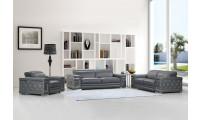 Divanitalia 692 Living Room Set in Gray Leather