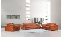Divanitalia 692 Living Room Set in Orange Leather