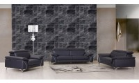 Divanitalia 727 Modern Living Room Set in Navy Leather