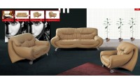 ESF 738 Living Room Set with Sofa Bed in Tan Leather