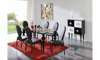 Black Solid Wood Legs Glass Top Dining Room Set - Made in Spain