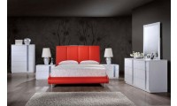 8272 Red Leather Bed Jody White Bedroom Set