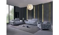 Divanitalia 903 Living Room Set in Light Blue Leather